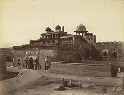 [View of the interior of the Delhi Gate] (outside) Agra Fort.
